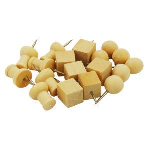 Alfileres de cabeza de madera 3 formas